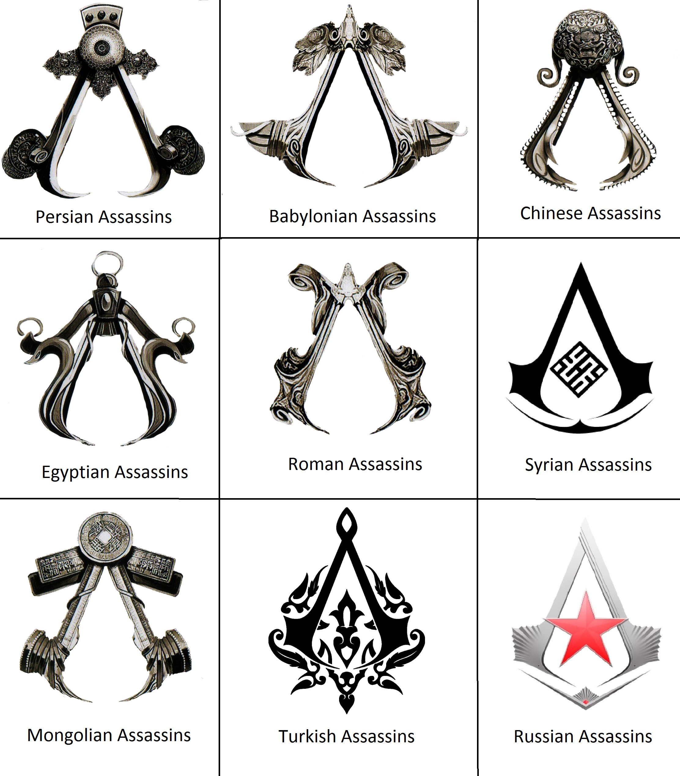 Symbols Of Assassins From Different Countries Assassins Creed