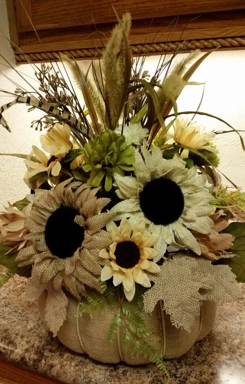 Burlap Flower Centerpiece Thanksgiving Centerpiece