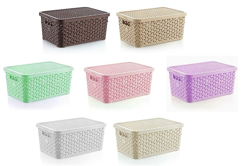 Small 10l Rattan Plastic Storage Box With Lid Mini Stackable Container Boxes Ebay Plastic Box Storage Storage Box Storage Boxes With Lids
