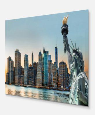 New York City Skyline Teal PANORAMA CANVAS WALL ARTWORK Print Art