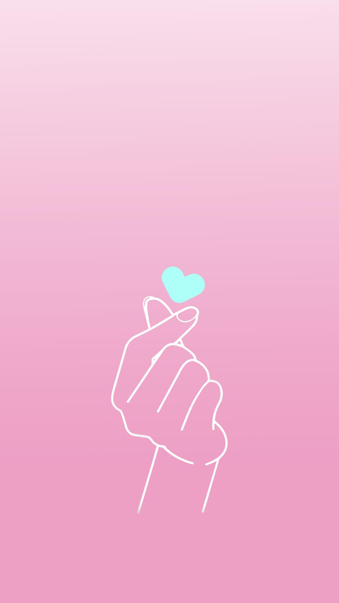 Wallpaper Finger Heart Azul By Gocase Pink Wallpaper Iphone Aesthetic Iphone Wallpaper Heart Wallpaper