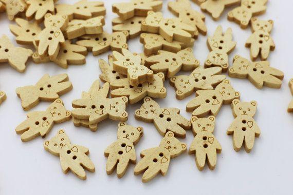10 Little Toy Bear Sew Through Wood Button by boysenberryaccessory