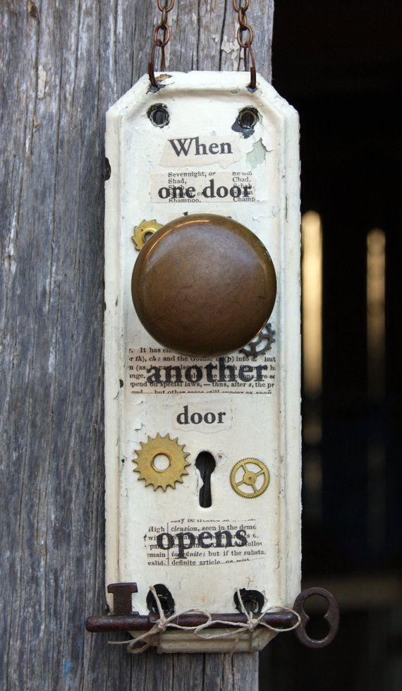 Escutcheon Plate Door Hardware Assemblage Art With Clock Gears U0026 Skeleton  Key