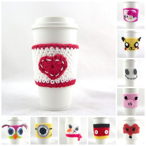 Red and White crochet coffee cozyCrochet cup by PrairieLoops