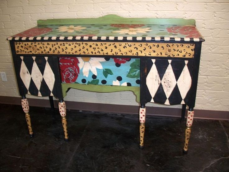 Whimsical Painted Furniture | Hand Painted Furniture ~ Whimsical Buffet |  Storage/dressers/drawers