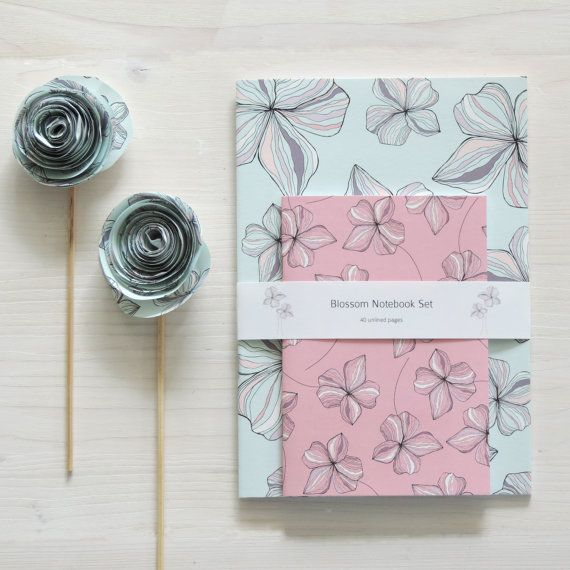 Blossom Notebook Set by ElleJaneDesigns on Etsy