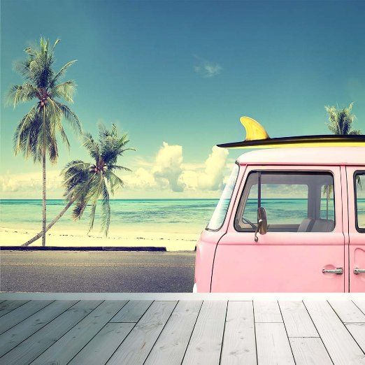 Volkswagen Beetle Retro 4k Hd Wallpaper: VW Surf Camper Van Map Wall Mural Photo Wallpaper Beach
