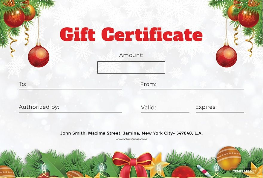 Formal Christmas Gift Certificate Template Free Pdf Word Doc Psd Apple Mac Pages Google Docs Publisher Gift Certificate Template Christmas Gift Certificate Free Gift Certificate Template