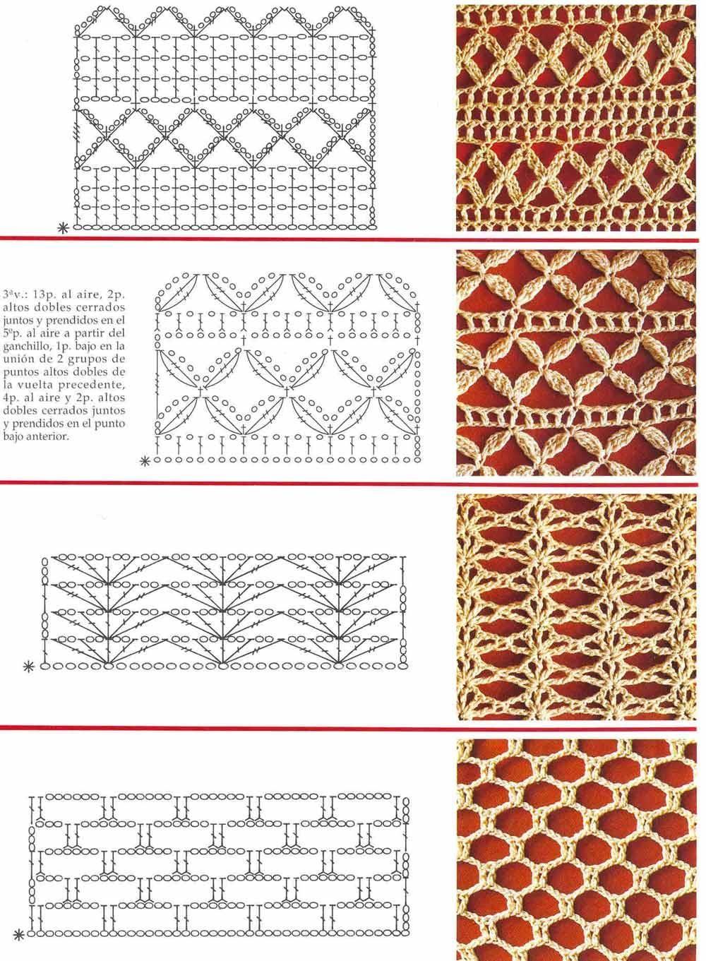 Pontos em Crochê com Gráfico   puntos crochet   Pinterest   Croché ...