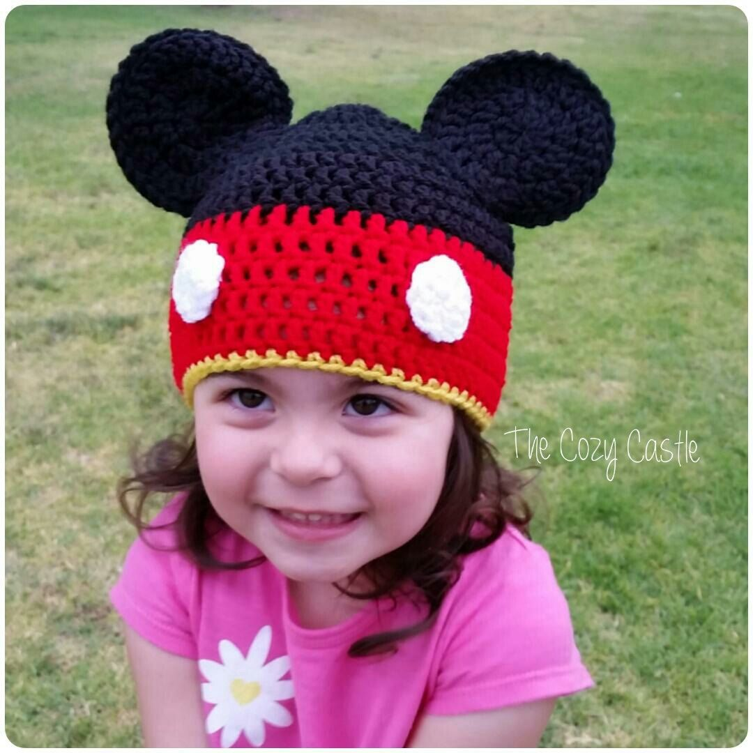 Mickey Mouse beanie/ Hat - crocheted Disney character hat