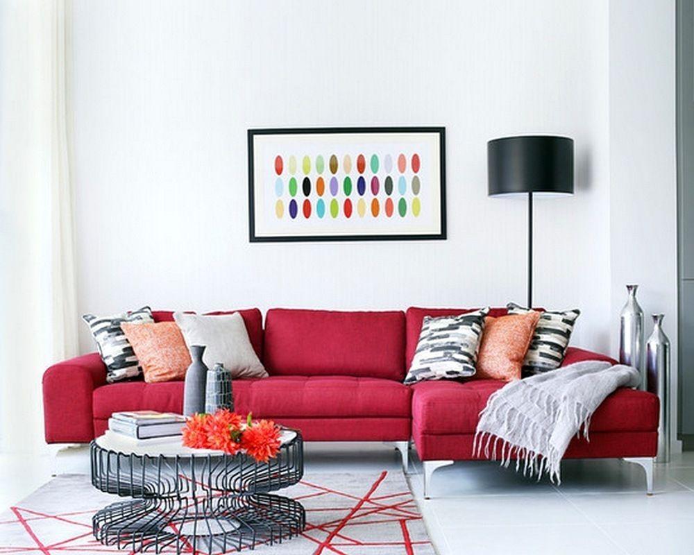 Desain Sofa Ruang Tamu Warna Merah Terbaru 4  Ruang keluarga