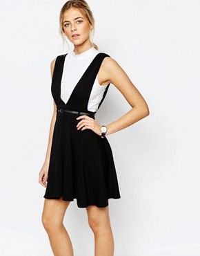 New Look Belted Pinny Skater Dress