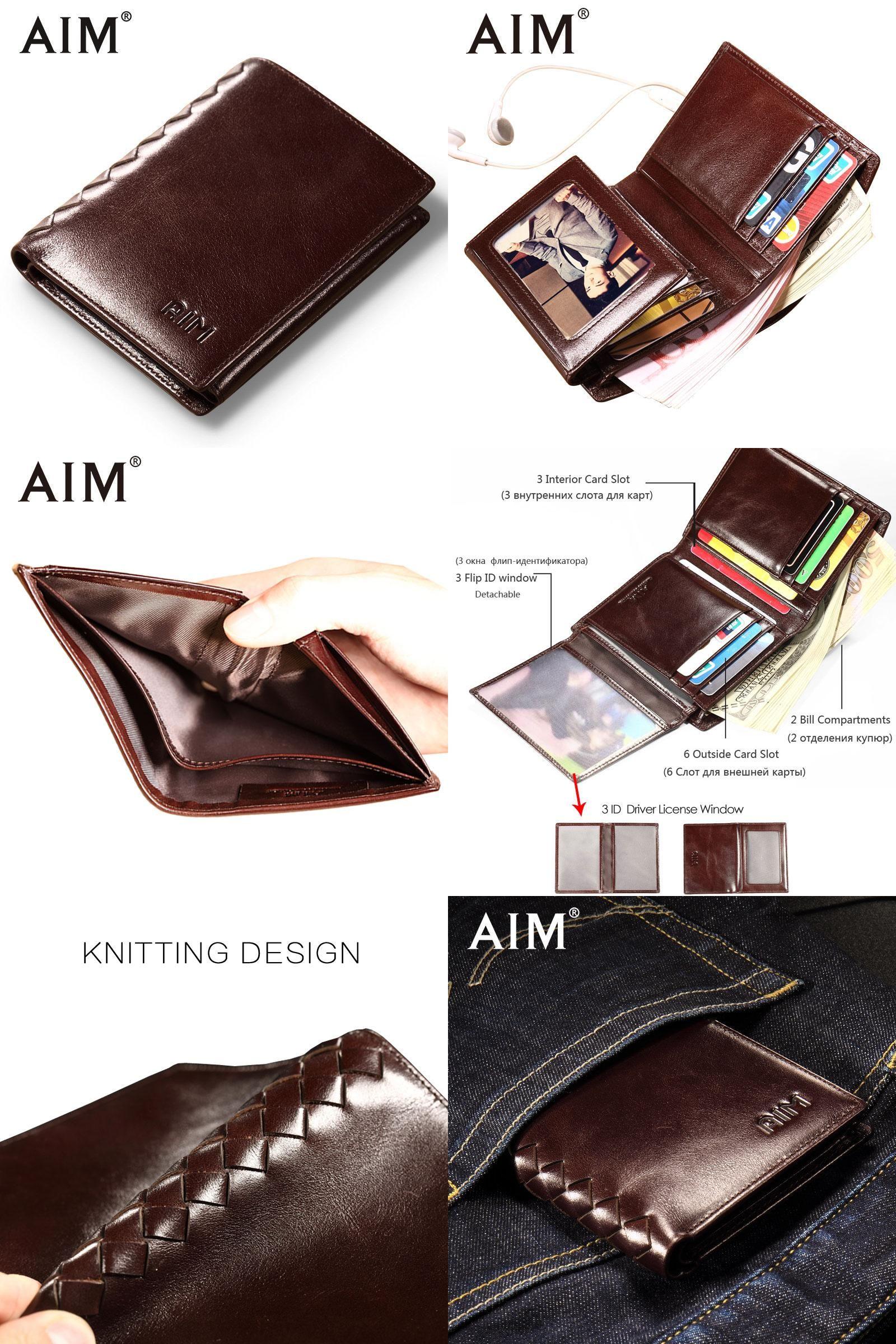31759533d2 Visit to Buy] AIM Men Short Wallets 100% Genuine Cow Leather Wallet ...