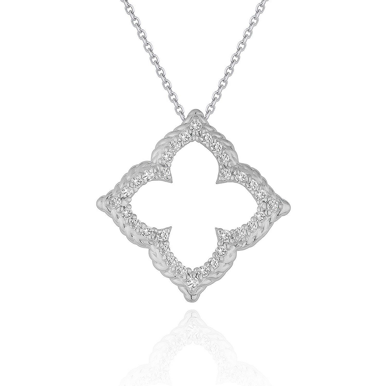 14K White Gold Diamond Cut-out Flower Pendant (1/3 ct. tw.)