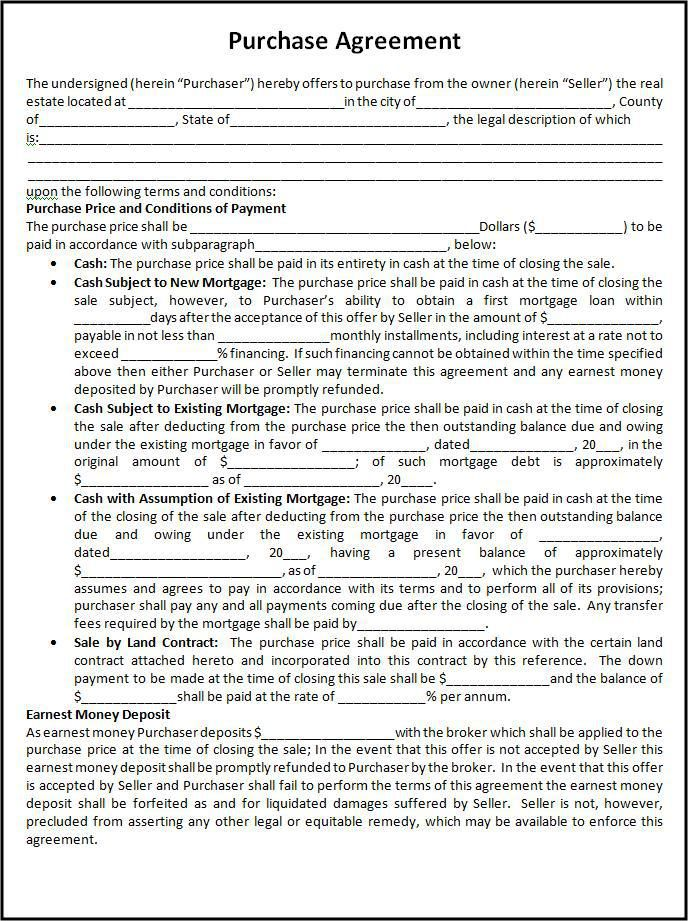 Purchase Agreement Template  Wordstemplates    Template