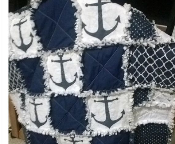 Ancre marine lit couette couverture par RagQuiltCorner sur Etsy