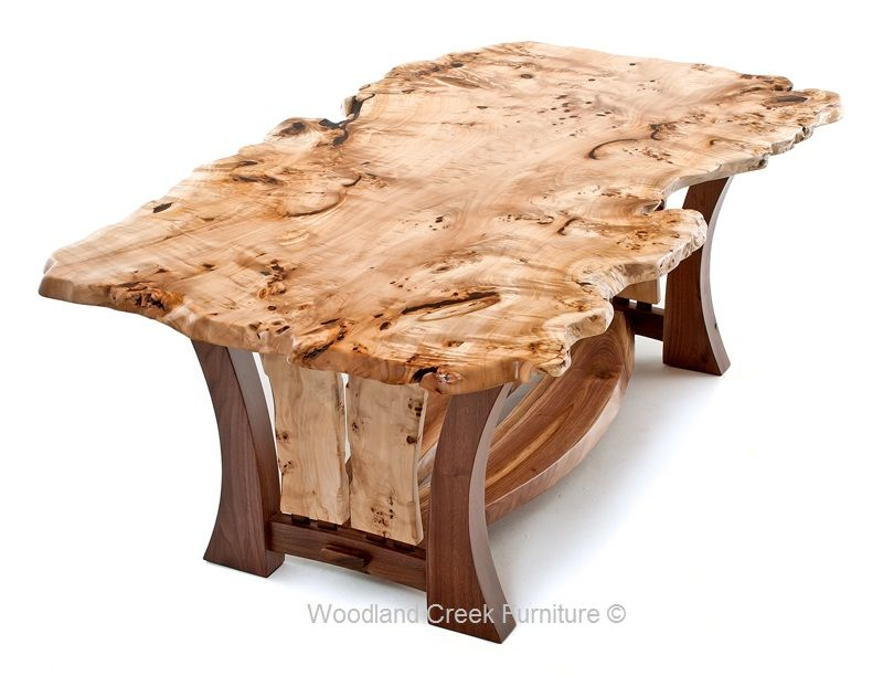 Our Craftsman Table Features An Asymmetrical, Live Edge Burl Wood Slab Top.  This Burl