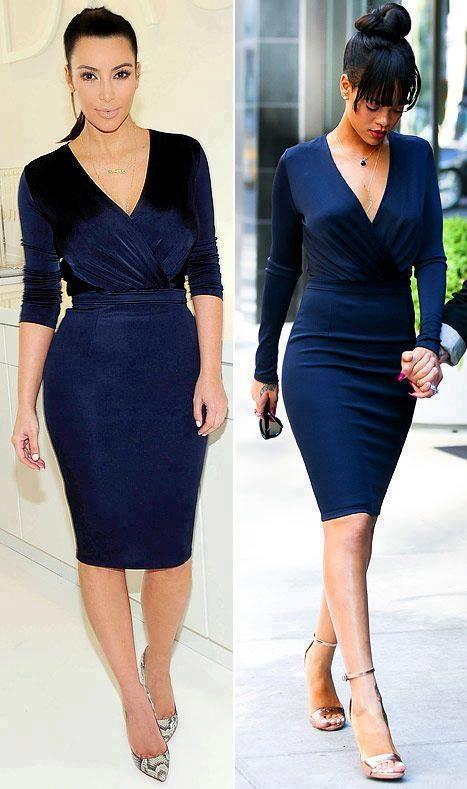 abff79d45698 Kim Kardashian   Rihanna rocked the same navy wrap dress