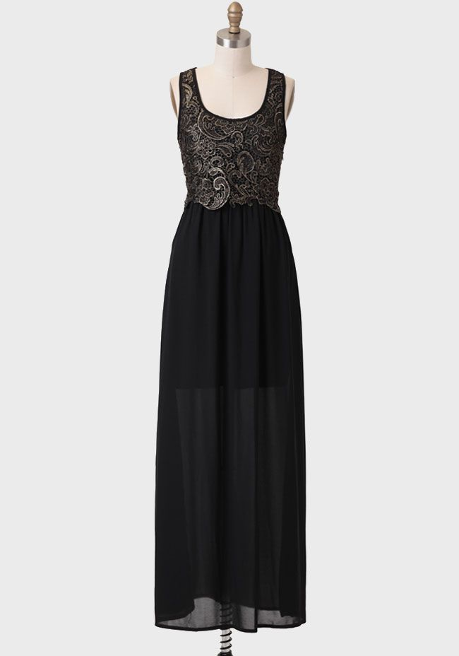 Starlight Lace Detail Maxi Dress at #Ruche @Ruche, different! Gray-ish on top, I think I'd want the whole thing lined, at least for the church