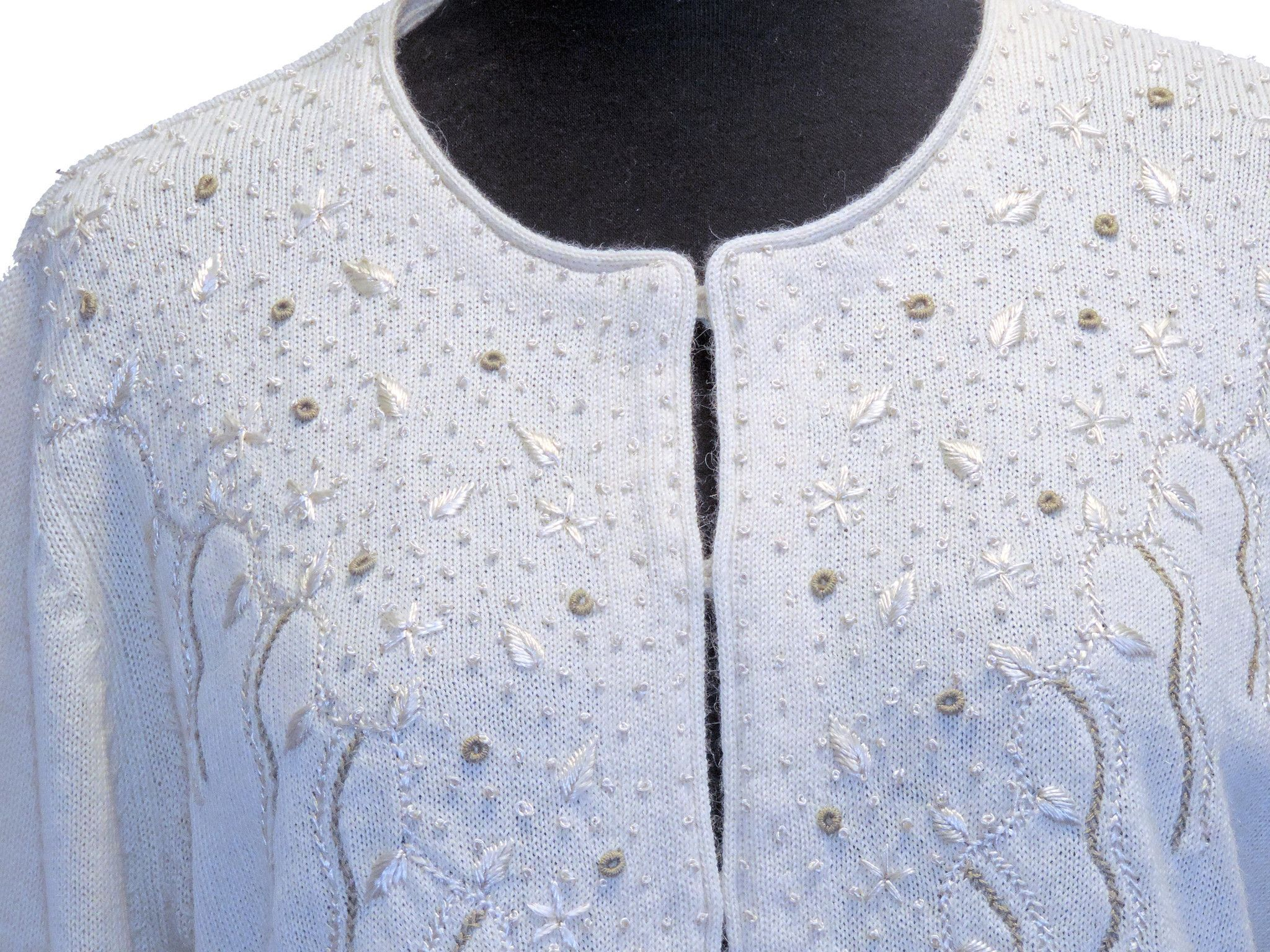7a1e4261c 100% Baby Alpaca Cardigan with Silk Embroidery - Natural White ...