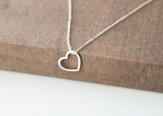 Heart Necklace,Silver Necklace,Sterling Silver Chain,Cute Silver Necklace,Dainty…