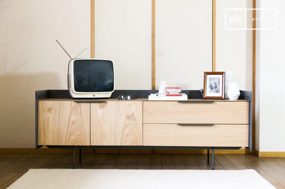 Credenza Per Tv : Credenza in legno color noce e bianco pittsburgh beliani