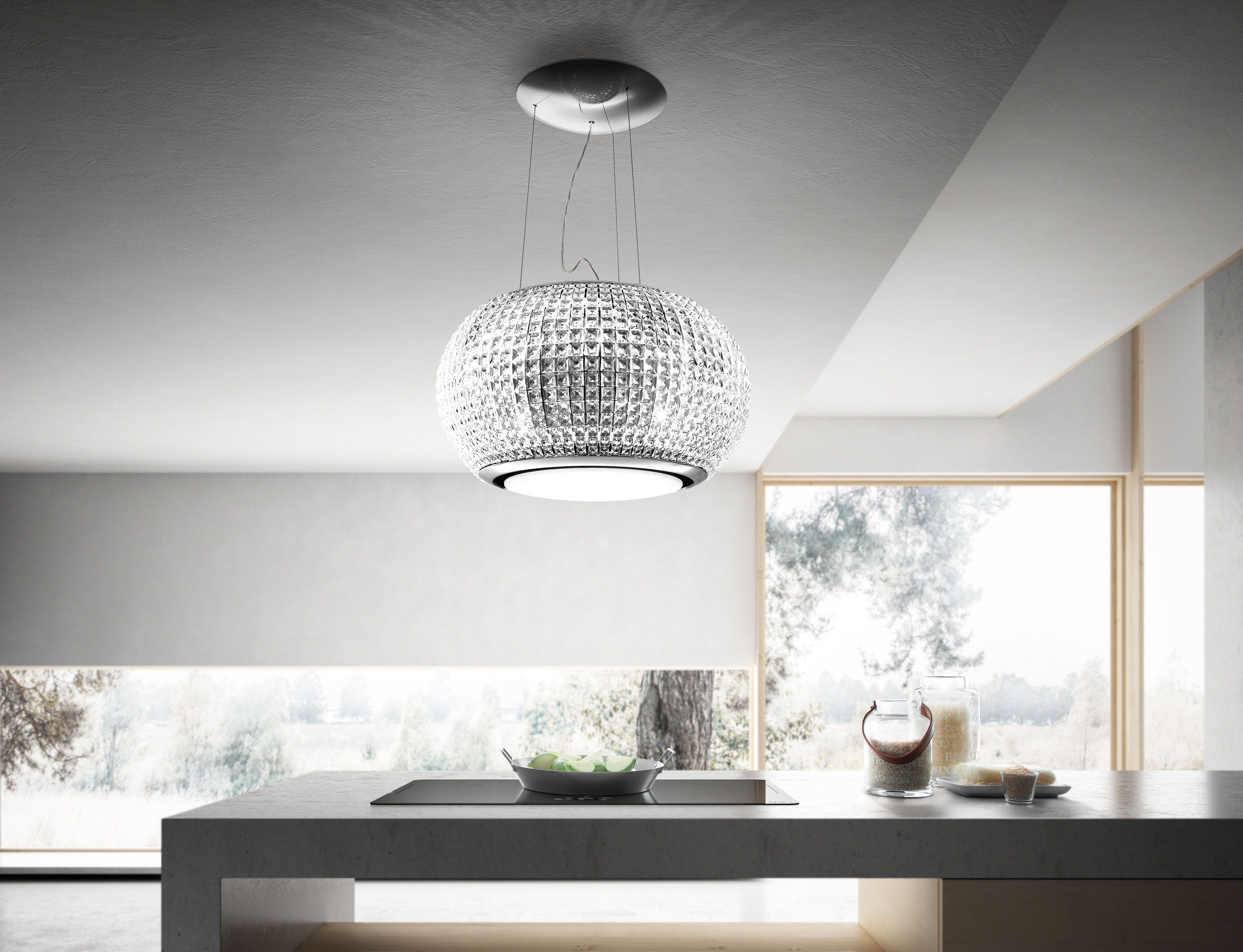 Interstellar Is The New Suspended Elica Hood That Is The Ideal Size 65 Cm For Island Kitchen Installation Its R Kitchen Lighting Home Decor Open Living Room