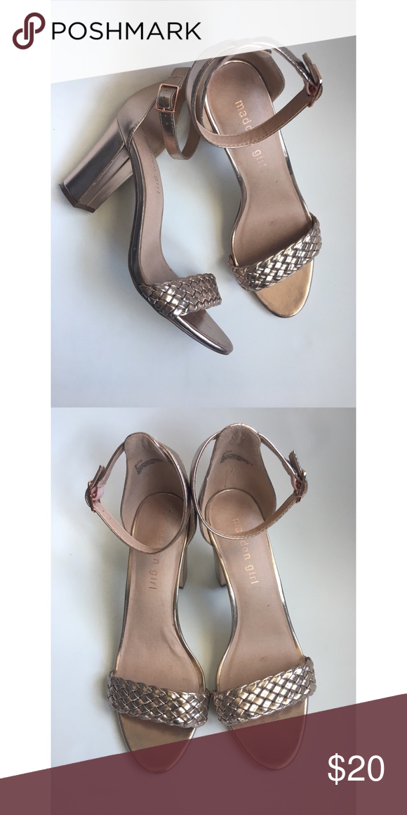 4f46694d977a Madden Girl Rose Gold Block Heel Sandals So stunning and in excellent  condition! Only worn once. Madden Girl Shoes Heels