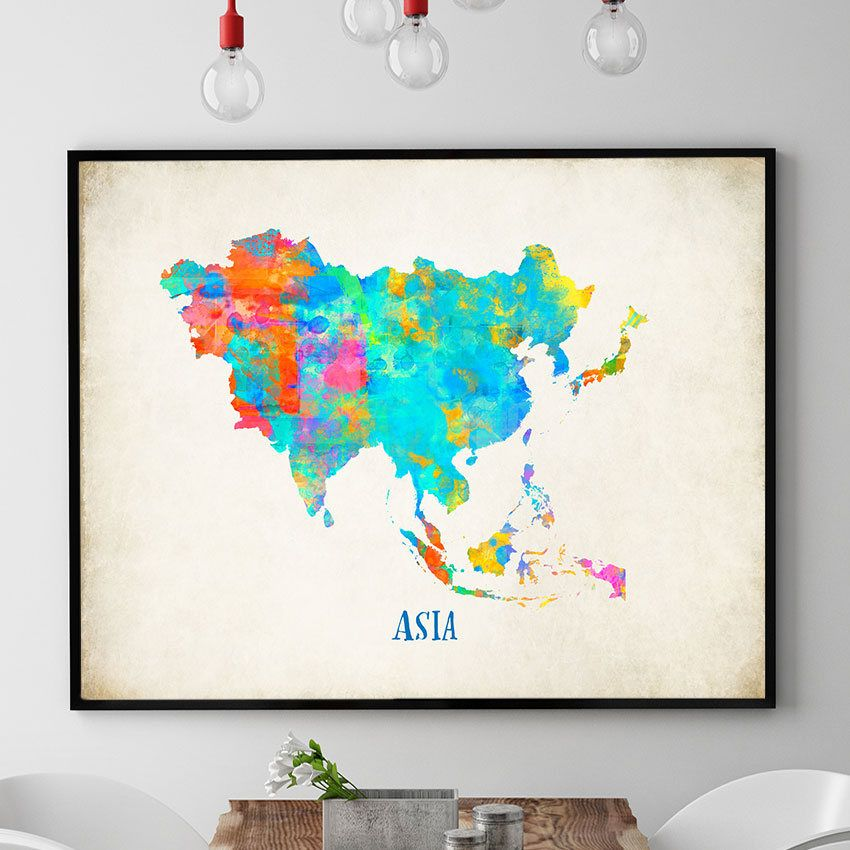 Map Of Asia To Print.Asia Map Wall Art Asia Map Print Map Of Asia Poster Watercolour