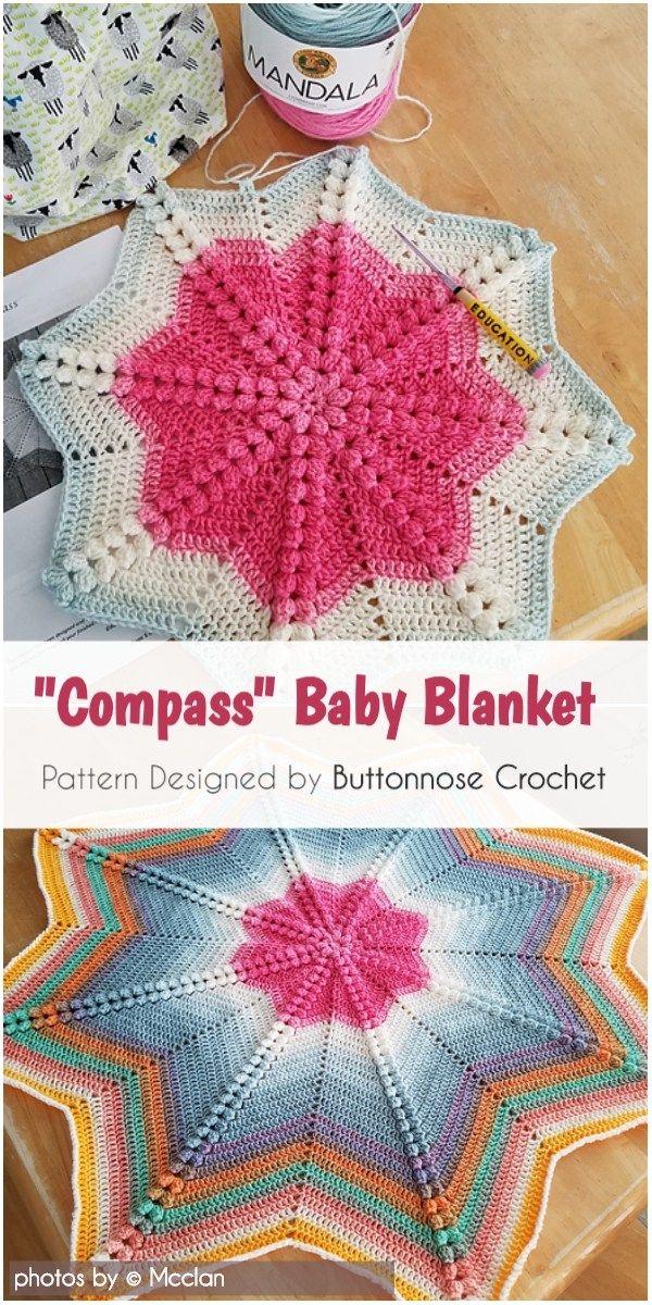 Crochet Compass Baby Blanket Pattern Idea #crochetbabyblanket #crochet #crochetpatternsfree #babyblanket