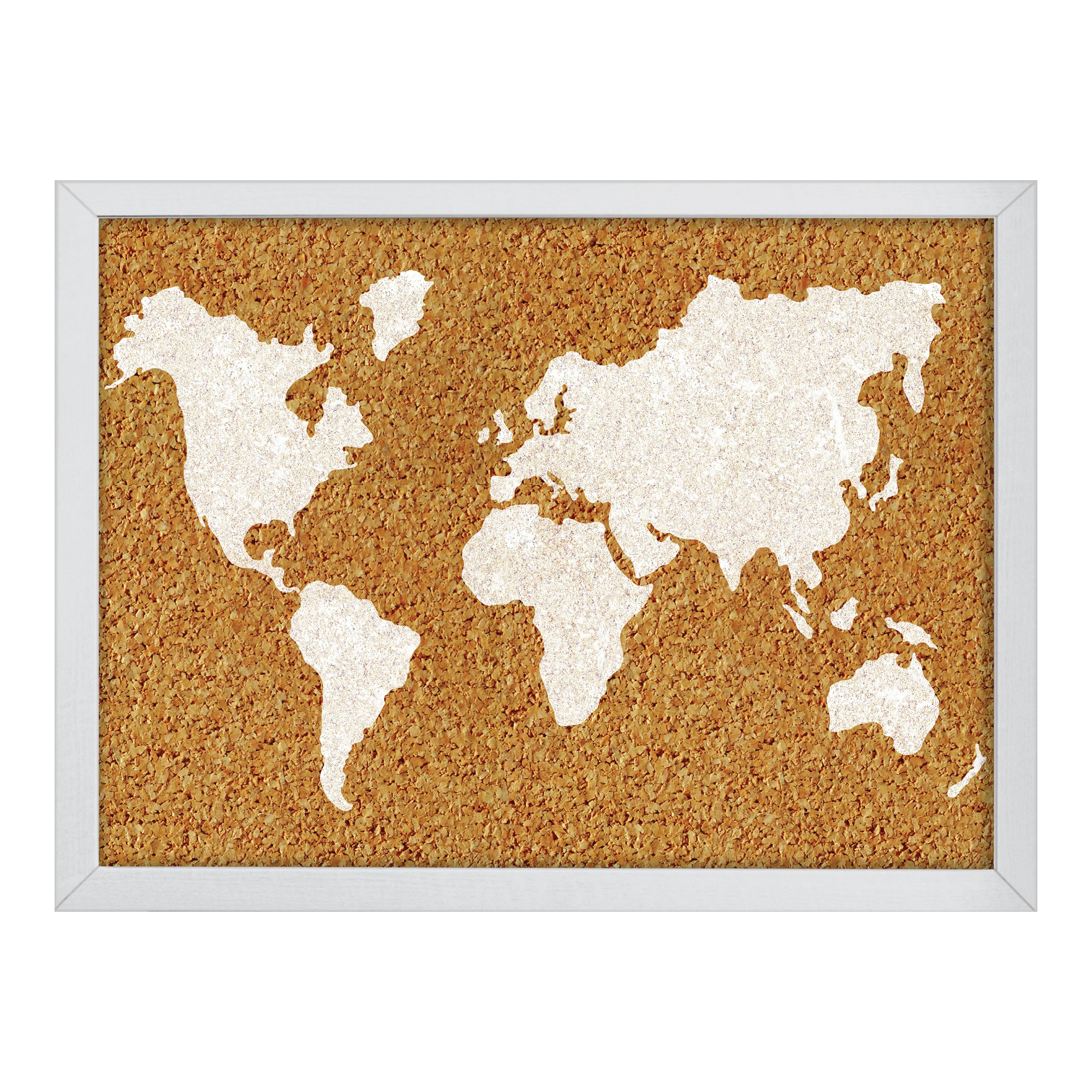 Wall pops cork bulletin board white frame 235 x 17 world map cork bulletin board white frame 235 x 17 world map gumiabroncs Images