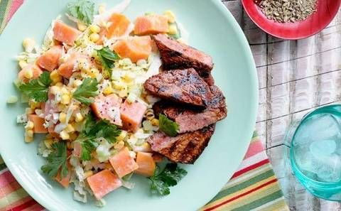 Smoked paprika beef with sweet potato and cabbage salad better homes and gardens yahoo 7 for Better homes and gardens potato salad