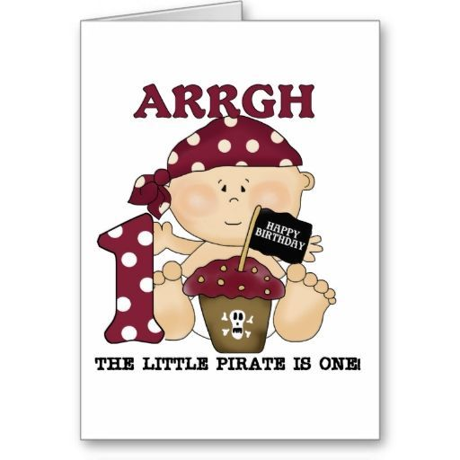Baby Pirate 1st Birthday Tshirts and Gifts Greeting Cards