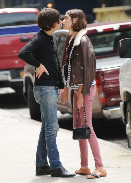 alexa chung, pink jeans , striped top and brown jacket