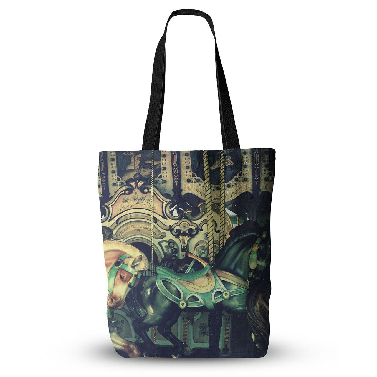 "Robin Dickinson ""Carousel"" Green Horse Everything Tote Bag"