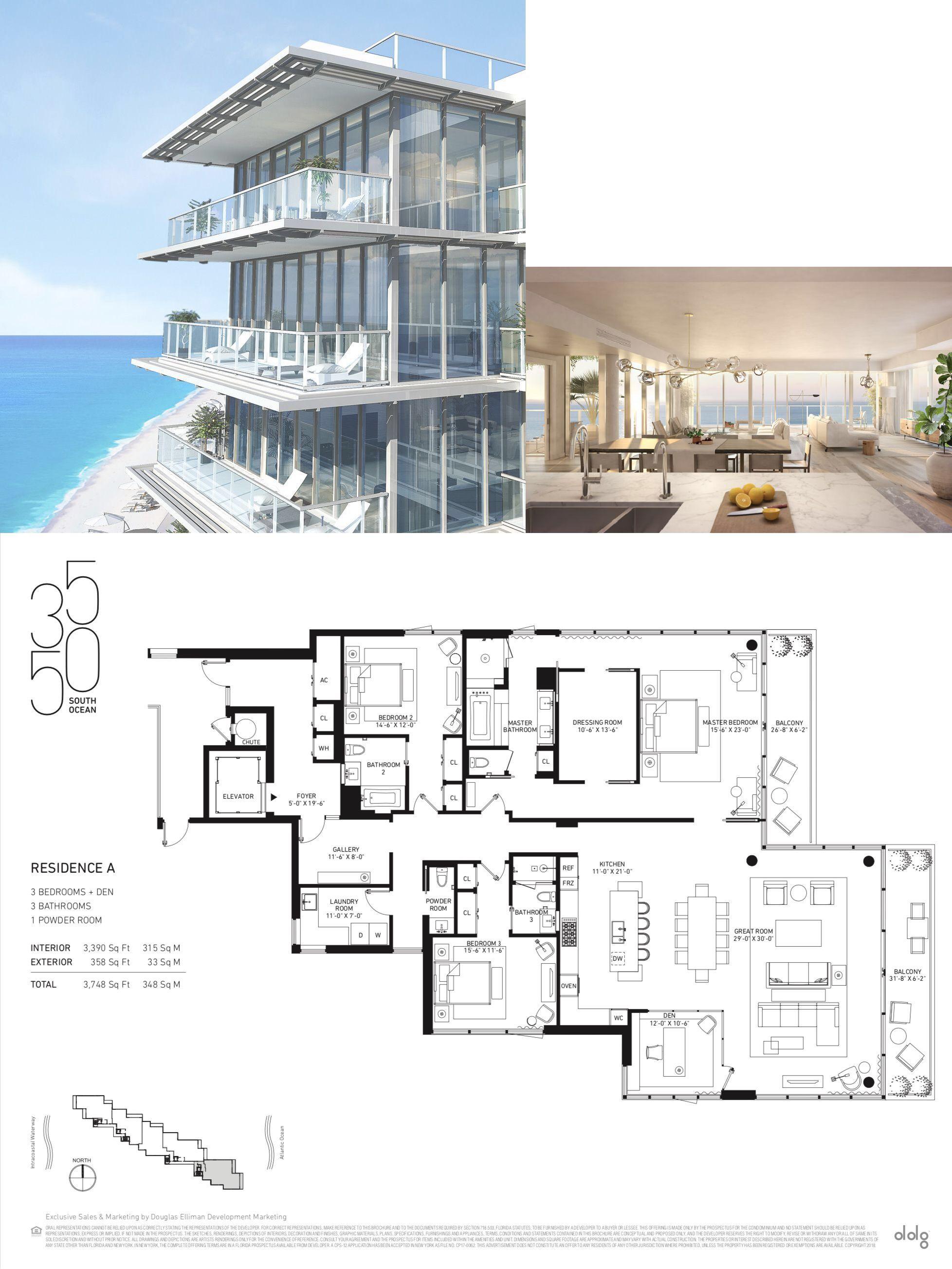 3550 South Ocean Palm Beach Residence A Beach House Floor Plans Penthouse Apartment Floor Plan Condo Floor Plans