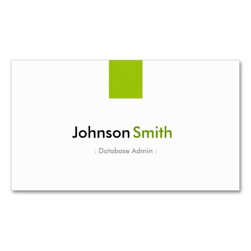 Database admin simple mint green business cards programmer database admin simple mint green business cards reheart Images