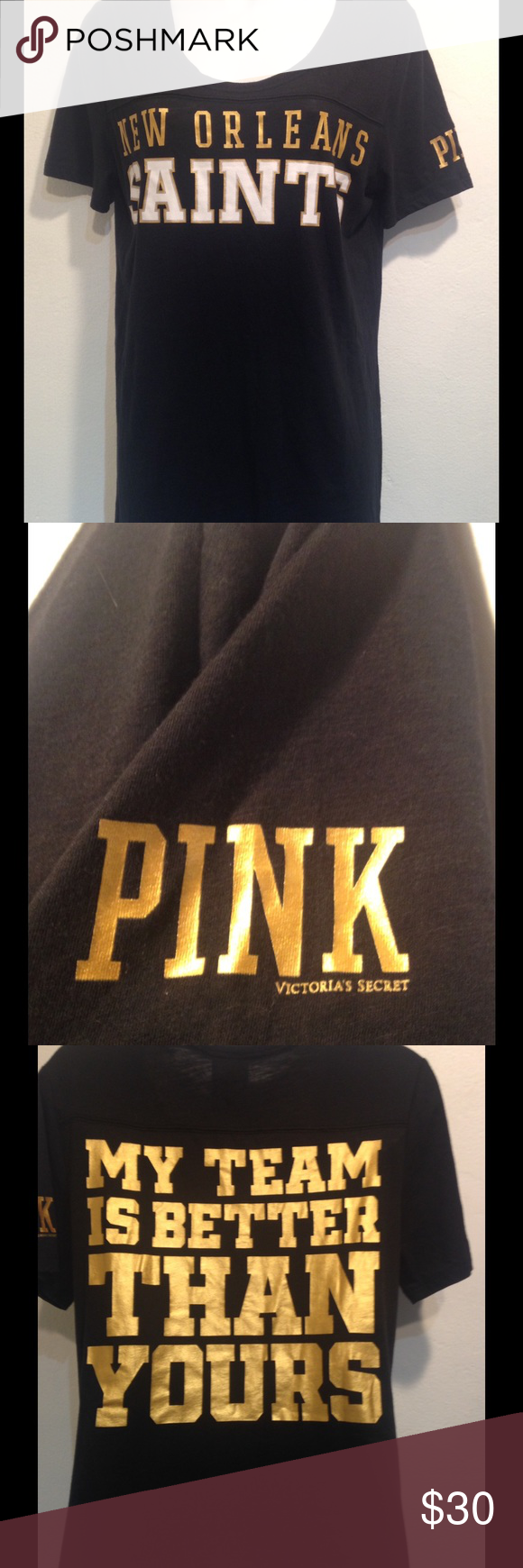 vs pink new orleans saints shirt vs pink new orleans saints shirt size L no holes or stains smoke free home PINK Victoria's Secret Tops Tees - Short Sleeve