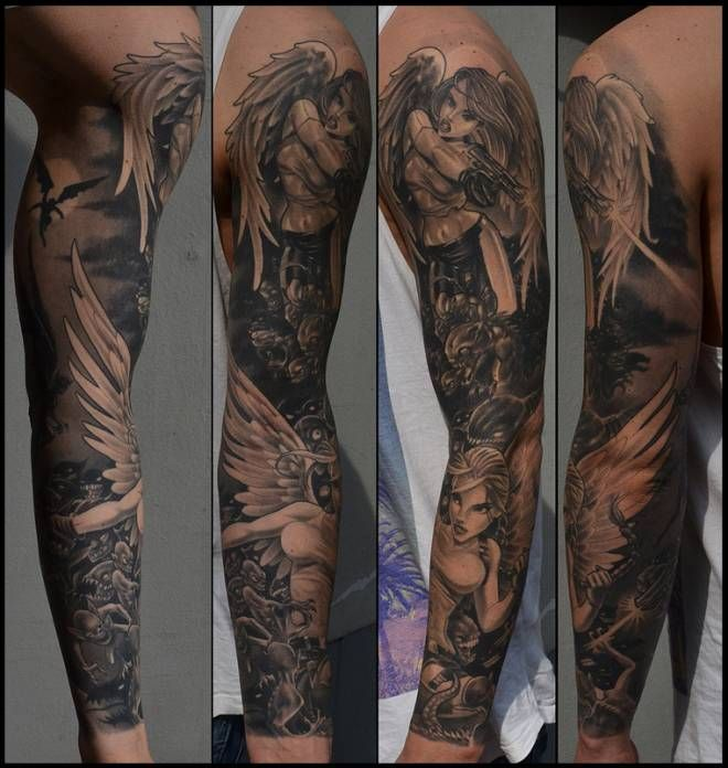 Angel And Demon Tattoo Sleeve Angel Vs Demon Tattoo Sleeve Healed