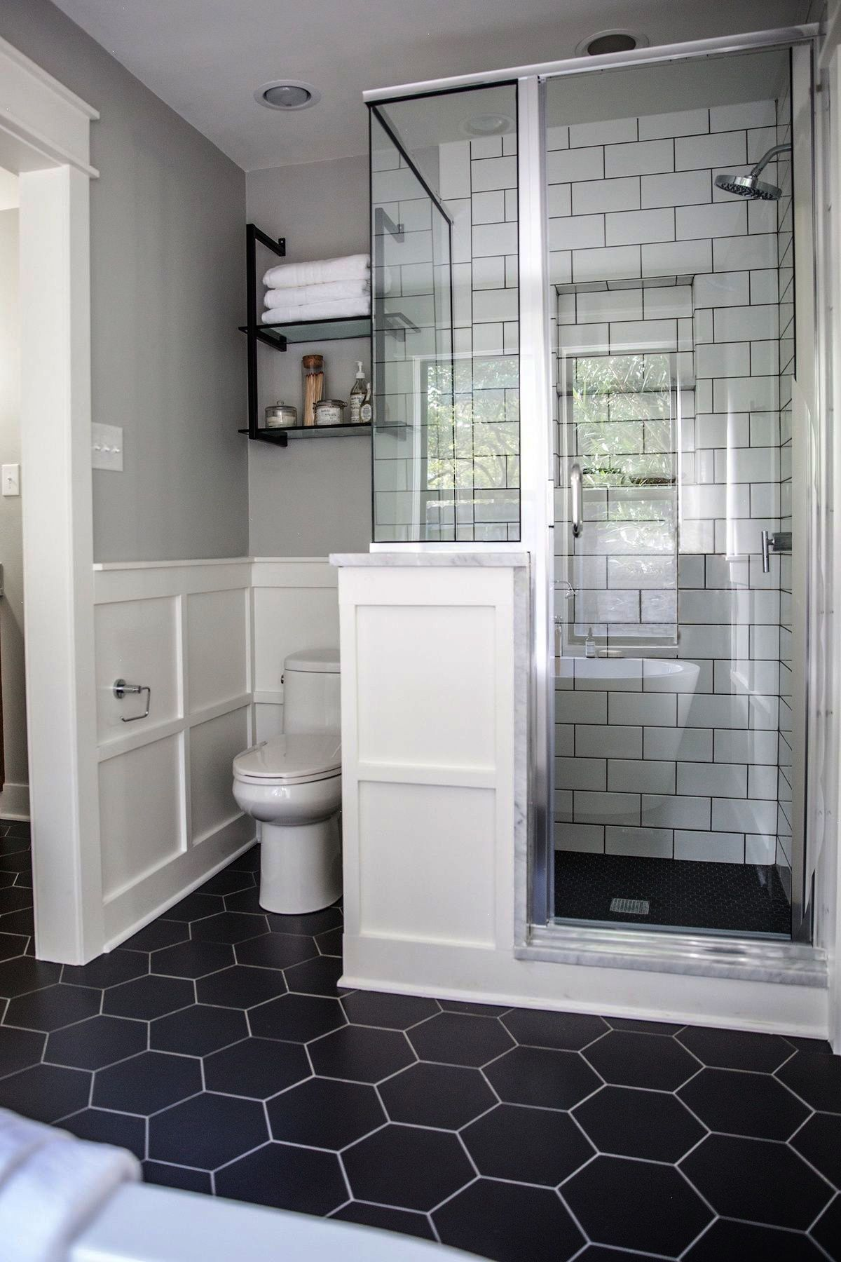 We Used Large Hexagonal Flooring Throughout The Whole Bathroom I
