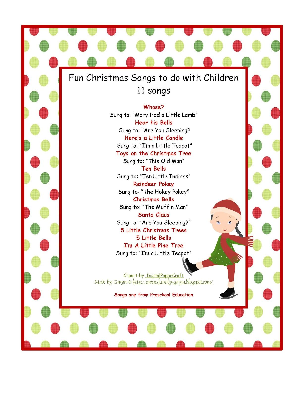 Preschool Printables: Christmas | Preschool Printables by Gwyn ...