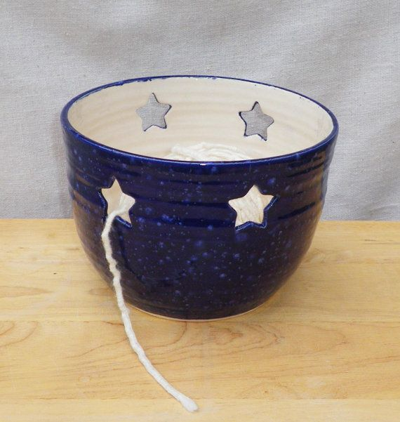 Yarn bowl knitting or crochet wool hand thrown pottery