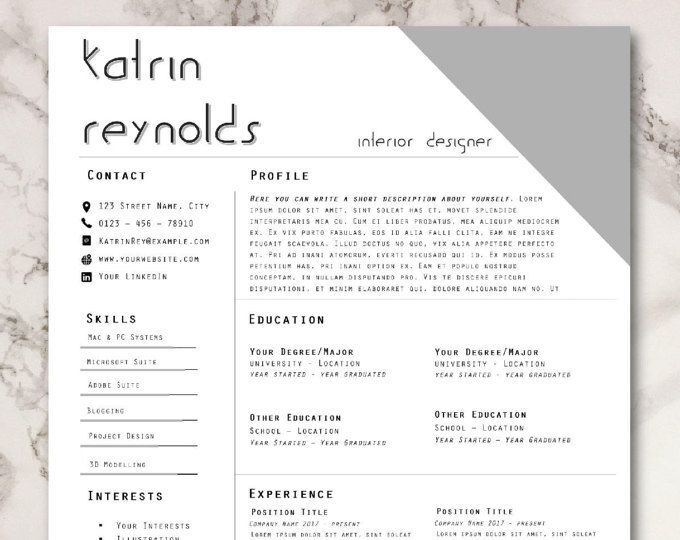 Professional Resume Cv Template Cover Letter Ms Word Creative