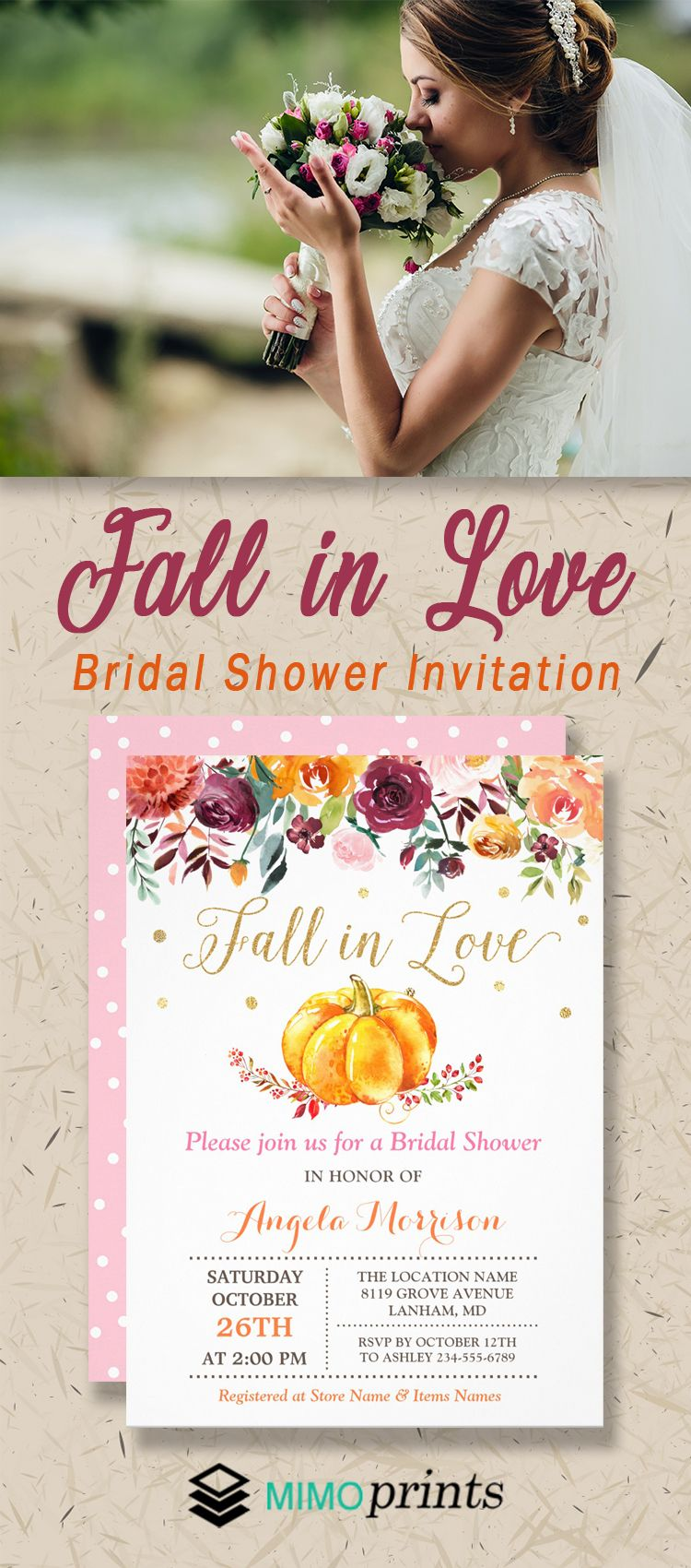 892eb1f11e2 This Fall In Love Pumpkin Gold Pink Bridal Shower Invitation is pretty