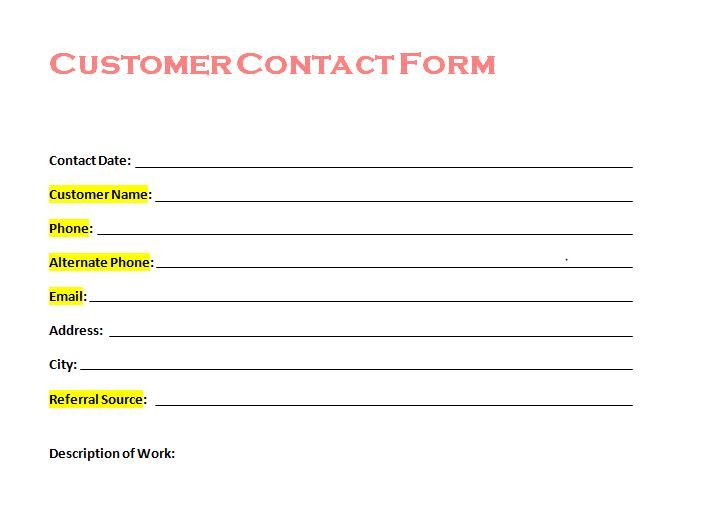 Free Customer Contact Form From Tradesman Startup  Customer