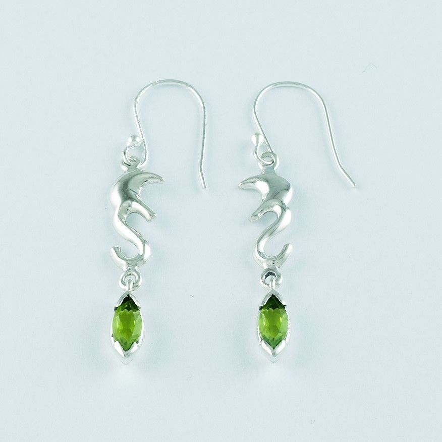 Peridot stone simple design 925 solid sterling silver earrings ...
