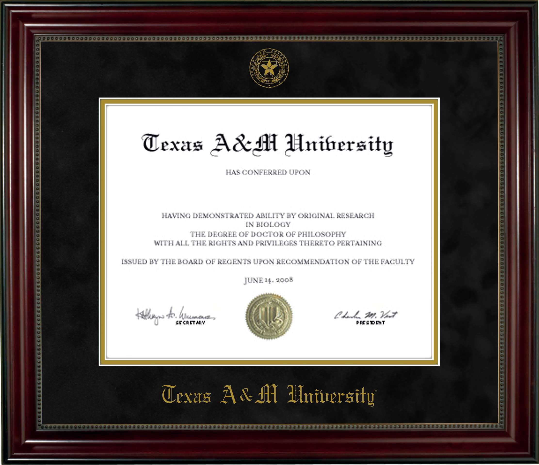 Texas A&M Diploma Frame - beaded cherry, black mat and seal. www ...