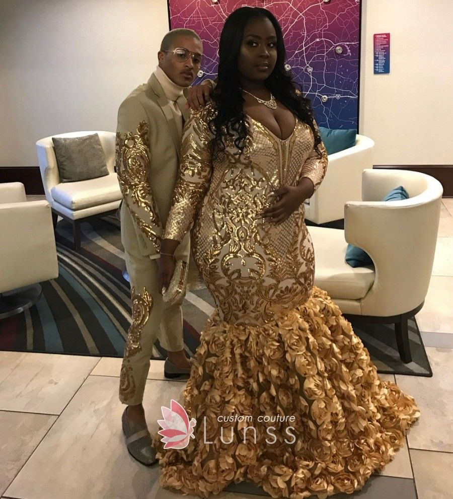 Gold Mermaid 3d Rose Long Sleeve Plus Size Prom Gown Prom Outfits African Prom Dresses Prom Girl Dresses [ 991 x 900 Pixel ]
