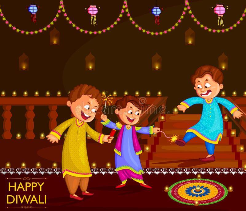 Kids Enjoying Firecracker Celebrating Diwali Festival Of India In Vector Affiliate Firecracker Celebra Diwali Festival Diwali Festival Of Lights Diwali