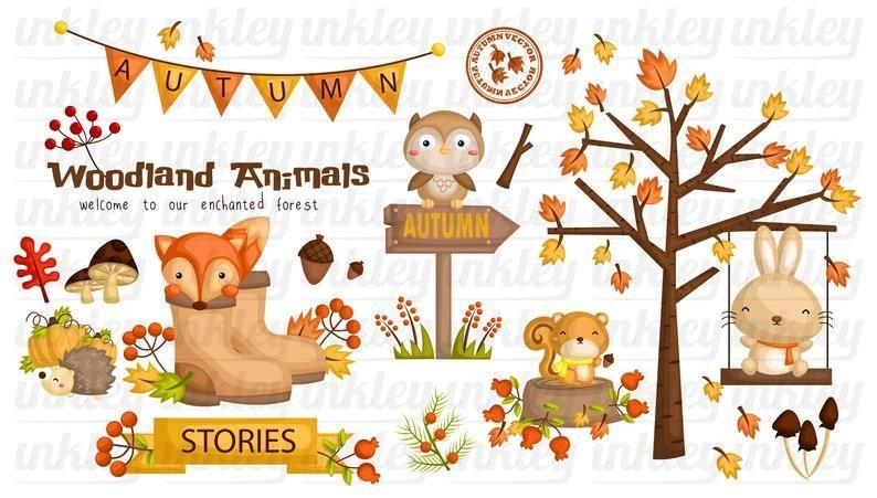 Autumn Season Animal Clipart Cute Animal Clip Art Seasonal Etsy Animal Clipart Clip Art Cute Animal Clipart